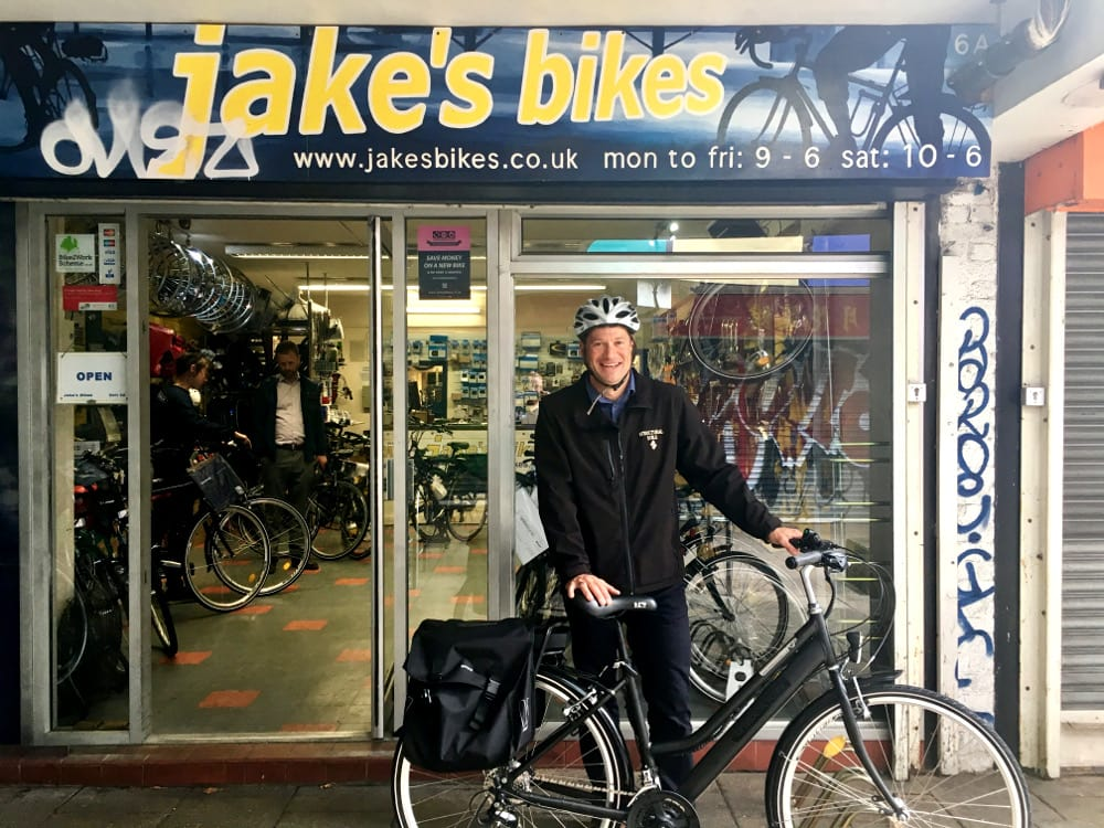 RSK staff collecting their new E-bike from Bristol Bicycles